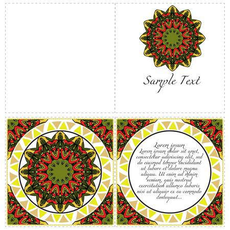 Ethnic Mandala ornament. Templates with mandalas. Vector illustration for congratulation or invitation. The front and rear side. Illustration