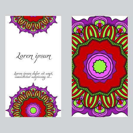Templates for greeting and business cards. Vector illustration. Oriental pattern with. Mandala. Wedding invitation.