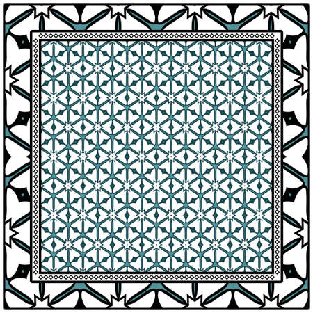 Geometric Pattern with hand-drawing floral ornament. illustration. For fabric, textile, bandana