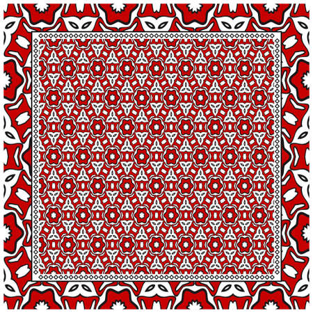 Geometric ornament with frame, border. Art-deco background. Bandanna, shawl, scarf, tablecloth design. 矢量图像