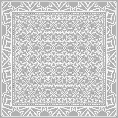 Design print for kerchief. The pattern of geometric floral ornament. Vector illustration. The idea for design prints for neck scarves, carpets, bandanas.