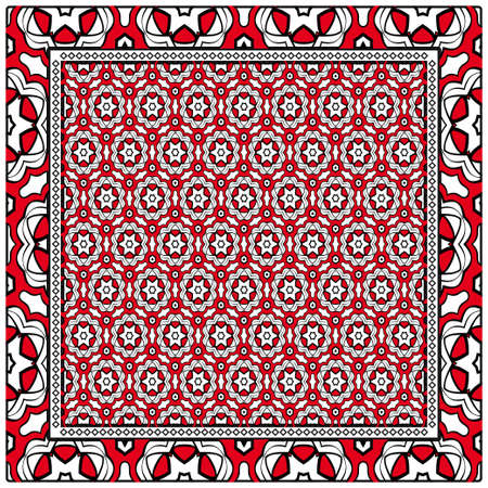 template print for fabric pattern of floral geometric ornament