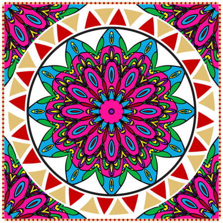 ornamental floral pattern for fashion print. Ethnic mandala decoration. For fashion print, bandanna, tablecloth, neck scarf.