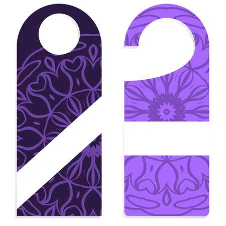Door knob or hanger sign with floral mandala design. cartoon vector illustration