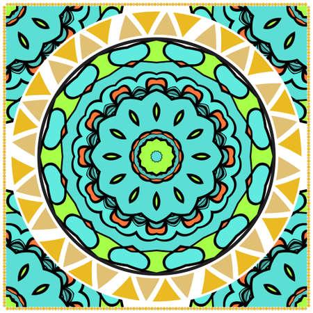 Floral Pattern with hand-drawing Mandala. illustration. For fabric, textile, bandana, pillowcarpet print.