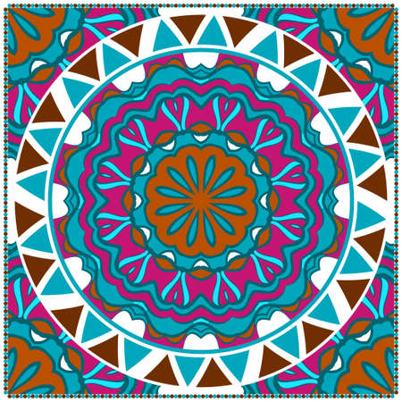 Template print for Sofa Square Pillow. Floral Geometric Pattern with hand-drawing Mandala. illustration. For fabric, textile, bandana, scarg, carpet print.  イラスト・ベクター素材