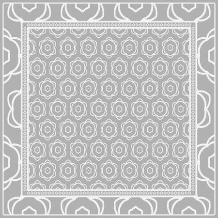 Geometric Pattern with hand-drawing floral ornament. illustration. For fabric, textile, bandana, scarg, print Illustration