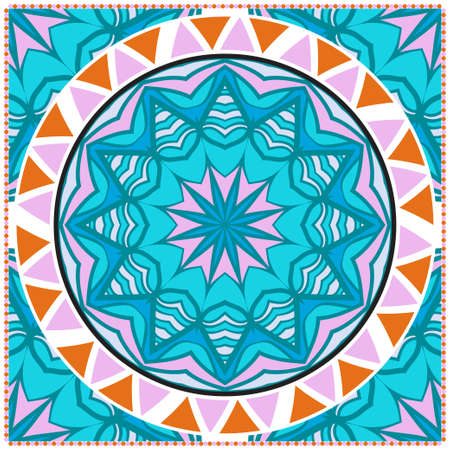 Floral Geometric Pattern with hand-drawing Mandala. illustration. For fabric, textile, bandana, scarg, print