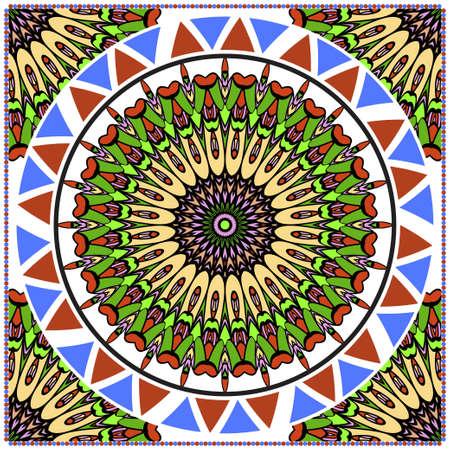 Decorative colorful ornament with round mandala decoration. symmetric pattern . For print Bandanna, shawl, tablecloth, fabric fashion, scarf, design.