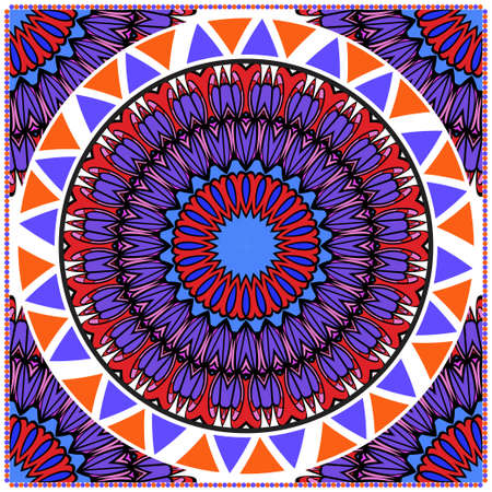 Floral Geometric Pattern with hand-drawing Mandala. illustration. For fabric, textile, bandana, scarg, print.