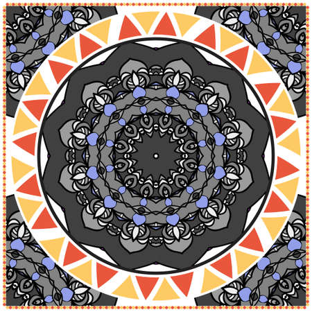 Traditional ornamental floral mandala pattern. For design of carpet, shawl, pillow, cushion. Vector illustration.