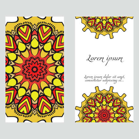 Yoga card template with mandala pattern. For business card, fitness center, meditation class. Vector illustration Vettoriali