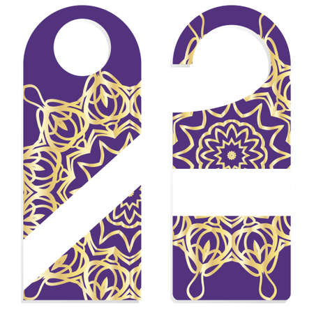 Door hanger flyer with floral mandala pattern for room in hotel, resort, home isolated on white background. Vector illustration.