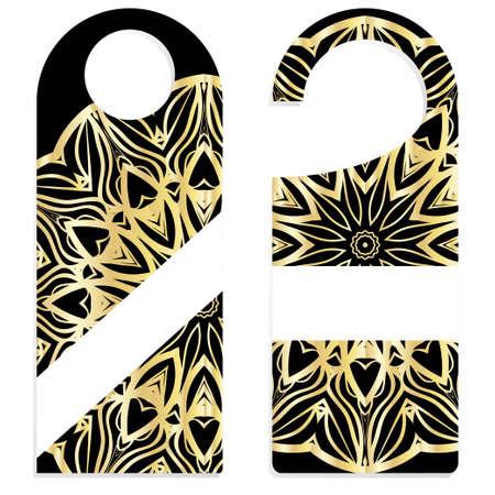 Bouton de porte ou signe de cintre avec motif floral mandala. illustration vectorielle de dessin animé