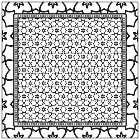 Geometric Pattern with hand-drawing floral ornament. illustration. For fabric, textile, bandana, scarg, print