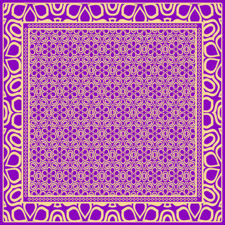 Geometric Pattern with hand-drawing floral ornament. illustration. For fabric, textile, bandana. 矢量图像