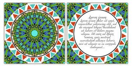 Floral banners. Ethnic Mandala ornament. Vector illustration. For greeting card, coloring book, invitation print. Illustration