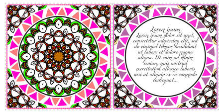 Set of Template greeting card, invitation with space for text. Mandala design. Vector illustration
