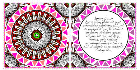 Floral banners. Ethnic Mandala ornament. Vector illustration. For greeting card, coloring book, invitation print. Vektorové ilustrace