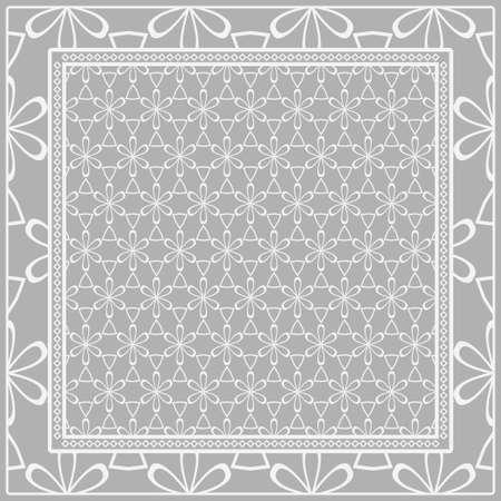 Template Print for Fabric. Pattern of floral geometric ornament with Border. illustration. Seamless. For Print Bandana, Shawl, Carpet