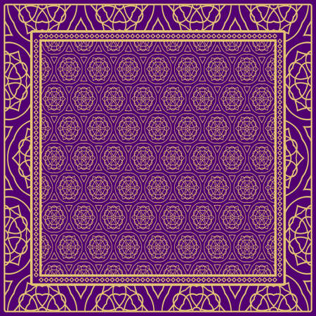 Floral Geometric Pattern. vector illustration. For fabric, textile, bandana, scarg, print.