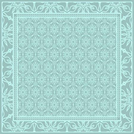 Motif géométrique avec ornement floral dessin à la main. illustration. Pour tissu, textile, bandana, scarg, impression