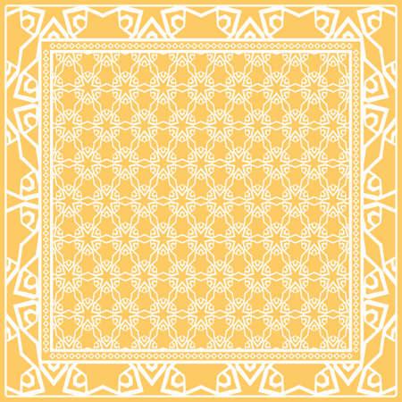Motivo geometrico floreale. Illustrazione vettoriale. Per tessuto, tessuto, bandana, scarg, stampa Vettoriali