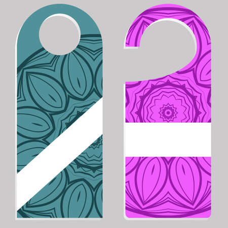 Hanger badge.Vector Illustration with floral mandala decoration. Ilustrace