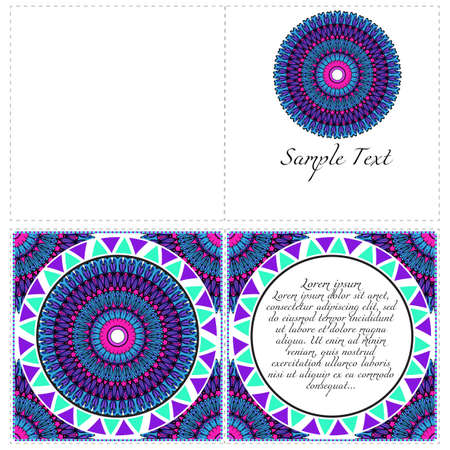 Floral banners. Ethnic Mandala ornament. Vector illustration. For greeting card, coloring book, invitation print. Illustration