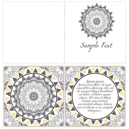 Ethnic Mandala ornament. Templates with mandalas. Vector illustration for congratulation or invitation. The front and rear side