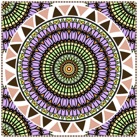 Floral Geometric Pattern with hand-drawing Mandala. illustration. For fabric, textile, bandana, pillowcarpet print.