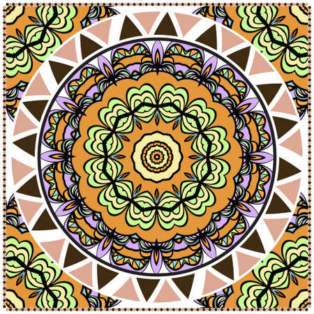 Design for square fashion print. For pocket, shawl, textile, bandanna. Mandala floral pattern. Vector illustration.