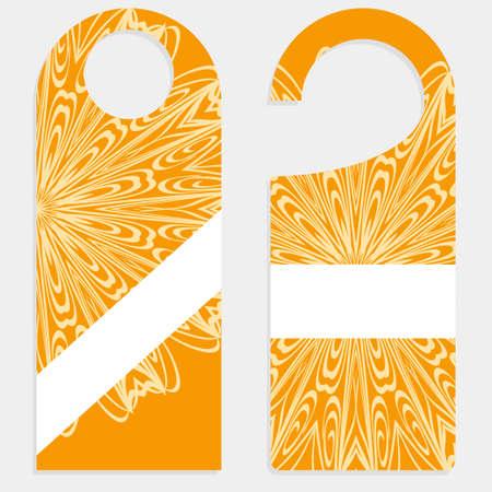 Door Hanger Tags for Room in Home, Hotel, Resort with Floral Mandala Design. Vector illustration.
