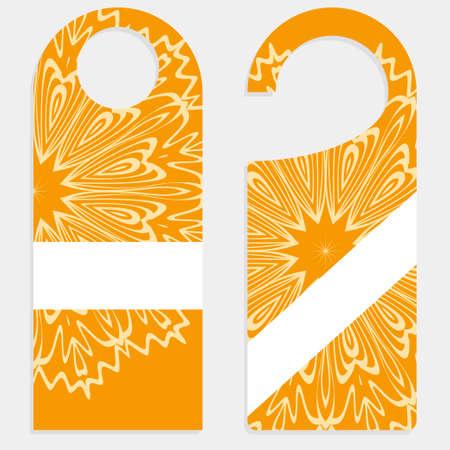 Hanger die cut. Empty shablon with floral mandala ornament. Vector illustration. hotel door hang tag signs Illustration