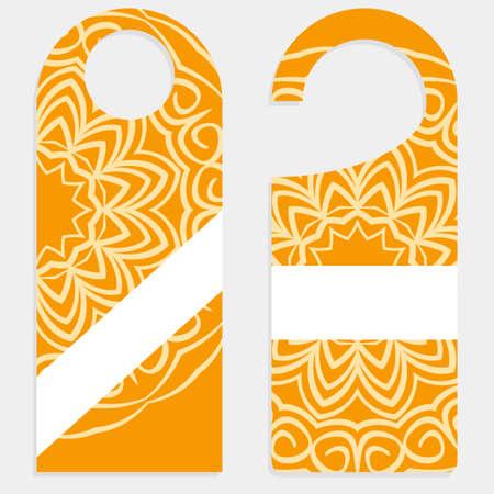 Hanger badge.Vector Illustration with floral mandala decoration. Illustration