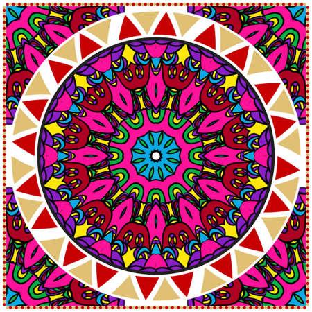 Traditionelles dekoratives Blumenmandala-Muster. Für die Gestaltung von Teppich, Schal, Kissen, Kissen. Vektorillustration.