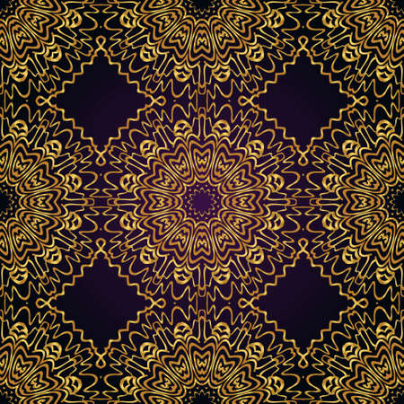 Floral Geometric Pattern with hand-drawing seamless. illustration. For fabric, textile, bandana, pillowcarpet print