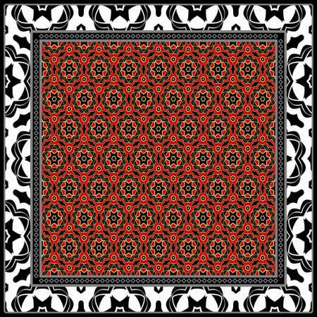 Diseño de una bufanda con estampado geométrico de flores. Ilustración vectorial Sin costura. Para imprimir Bandana, chal, alfombra, mantel, ropa de cama, moda.