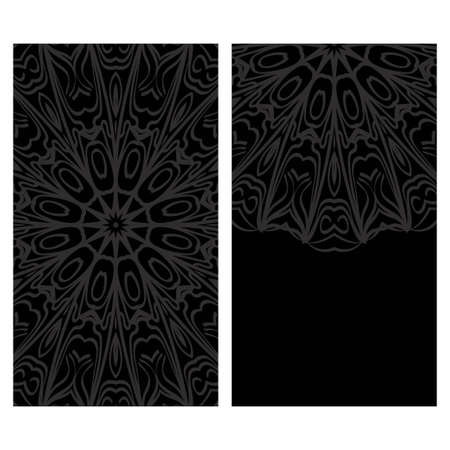 Vintage cards with Floral mandala pattern. Vector template. The front and rear side. Illusztráció