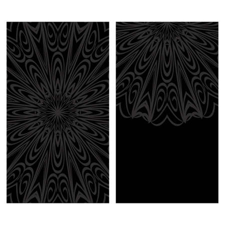 Invitation or Card template with floral mandala pattern. For Wedding, greeting cards, Birthday Invitation. The front and rear side. Vector illustration.