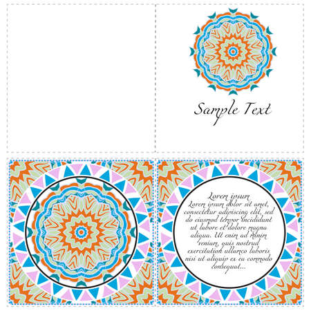 Vintage Invitation card with Mandala pattern. The front and rear side. Beautiful Ornament. Vector illustration