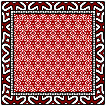 Geometric ornament with frame, border. Art-deco background. Bandanna, shawl, scarf, tablecloth design.