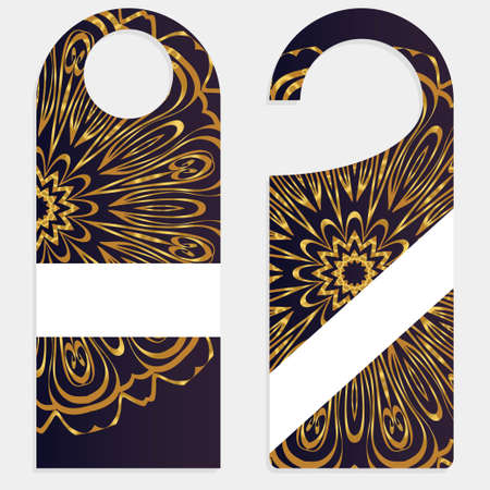 Door Hanger Tags for Room with Floral Mandala Design.