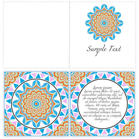 Floral banners. Ethnic Mandala ornament. Vector illustration. For greeting card, coloring book, invitation print