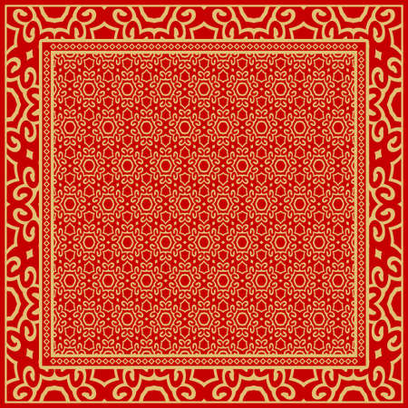 background, geometric pattern with ornate lace frame. illustration. for Scarf Print, Fabric, Covers, Scrapbooking, Bandana, Pareo, Shawl. Vektorové ilustrace