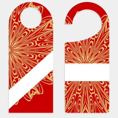 Door hanger with special mandala design. Vector illustration. For hotel, sale.