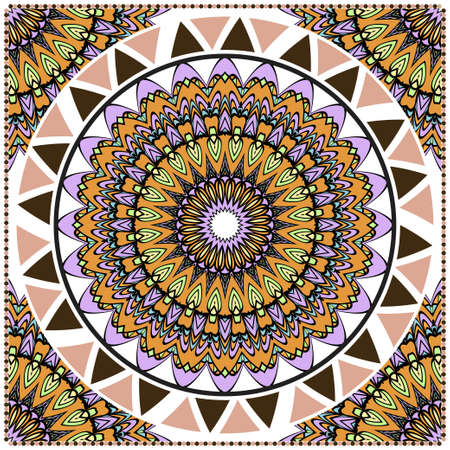 Decorative ornament with round mandala decoration. symmetric pattern . For print Bandanna, shawl, tablecloth, fabric fashion, scarf, design.