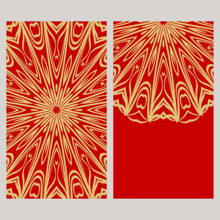Vintage cards with Floral mandala pattern. Vector template. The front and rear side. 向量圖像