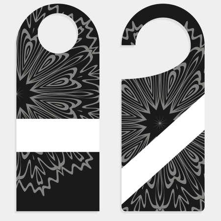 Door hanger mockup isolated on white background. Design with floral mandala ornament. Vector illustration. Vecteurs