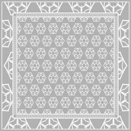 Geometric ornament with frame, border. Art-deco background. Bandanna, shawl, scarf, tablecloth design